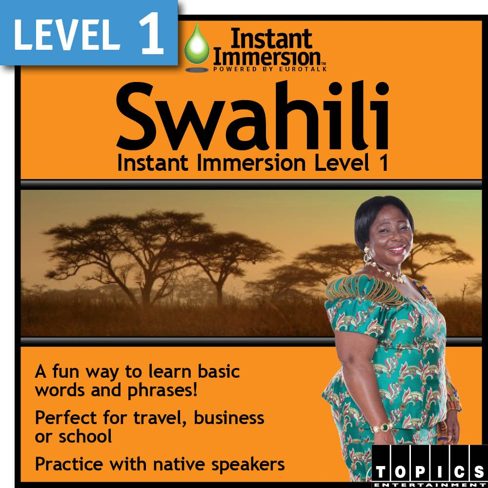 Instant Immersion Opening large release sale Today's only Level 1 - Swahili Download