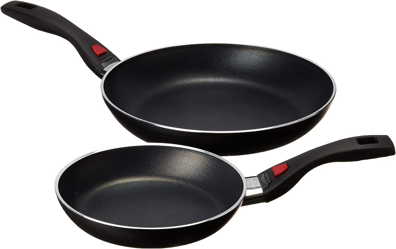 Ballarini 75002-788 Click & Cook Nonstick Fry Pan Set, 8  & 11 , Black