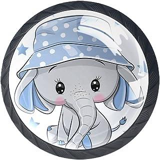 Bouton de Tiroir Enfant Éléphant de dessin animé Bouton de Meuble Lot de 4 Bouton de Porte Verre en Crystal Poignee de Meu...