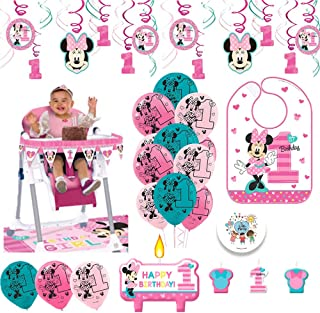 Minnie Mouse First Birthday Fun To Be One 1st Birthday Party Supplies Decoration Pack Includes: