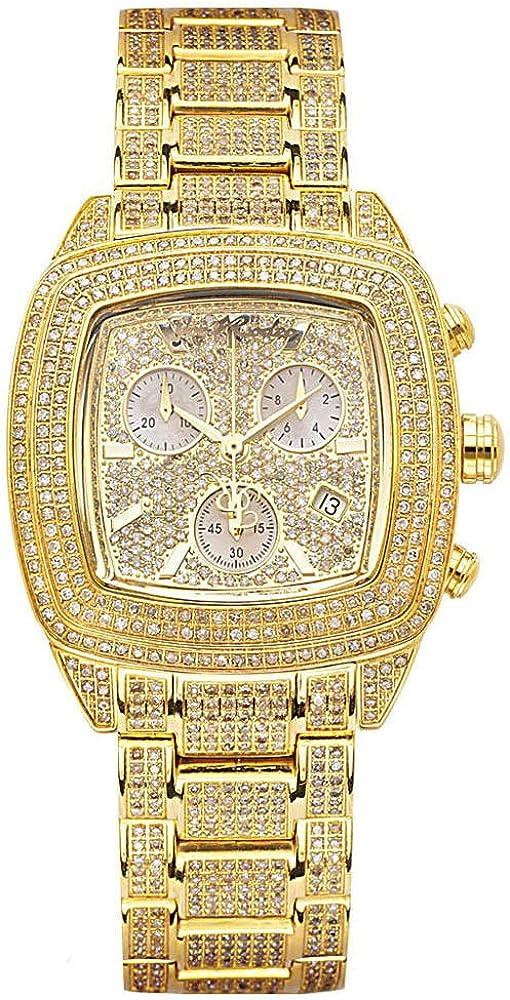 Joe rodeo diamante chelsea,orologio,cronografo da donna,cassa in acciaio inossidabile placcata oro,e diamanti JCHE4