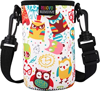 Nuovoware Water Bottle Carrier, Premium Neoprene Portable Insulated Water Bottle Holder Bag 550ML with Adjustable Shoulder Strap Fit Stainless Steel & Plastic Bottles, Small Size, Colorful Owl