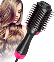One Step Hair Dryer and Volumizer Multifunctional Oval Blower Hot Air Paddle Styling Brush Negative Ion Generator Hair Straightener Curler Comb for All Hair Types