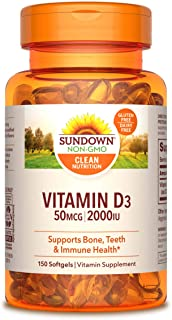 Sundown Vitamin D3 2000 Iu, Supports Immune, Bone and Teeth Health*, 150 Softgels Non-GMOˆ, Free of Gluten, Dairy, Artific...
