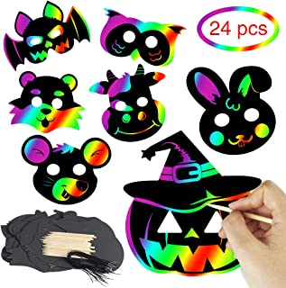 24 Sets Scratch Paper Animal Masks Scratch Rainbow Masks for Adults Costume Dress Up Parties Decorations Cosplay Children's Birthday Party