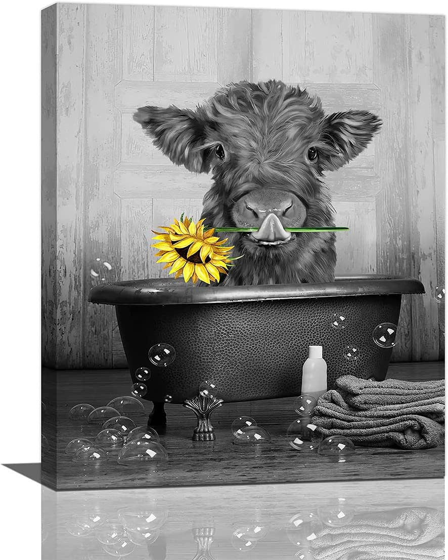Popular products Canvas Wall Art Cute Cow Sunflower Bathtube With Print In Max 89% OFF