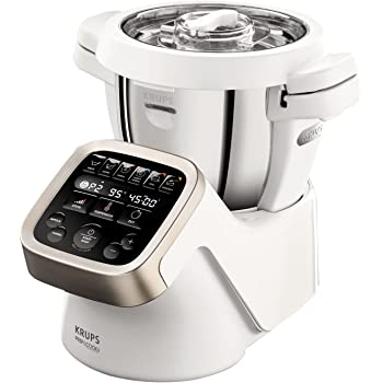 Krups Prep&Cook HP5031 Multifunktions-Küchenmaschine (1,550 Watt, bis zu 12.000 U/min, mit Kochfunktion) weiß/edelstahl