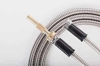 25' FT Metal Garden Hose 304 Stainless Steel 18 Gauge Super Light Weight With Solid Brass Fireman Twist Nozzle Sprayer