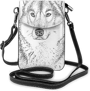 Women Small Cell Phone Purse Crossbody,Wildlife Woods Winter Animal Wolf Dog Sketchy Hand Drawn Image Artwork Print