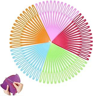 100 pezzi Aghi da cucito multicolore per bambini da 9 cm Aghi di plastica per cucito di Binca e arazzi Bambini Arti e mestieri di fai da te Prime Aghi da cucito di plastica per bambini