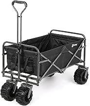Sekey Folding Wagon Cart Collapsible Outdoor Utility Wagon Heavy Duty Beach Wagon with All-Terrain Wheels, 265 Pound Capacity, Black