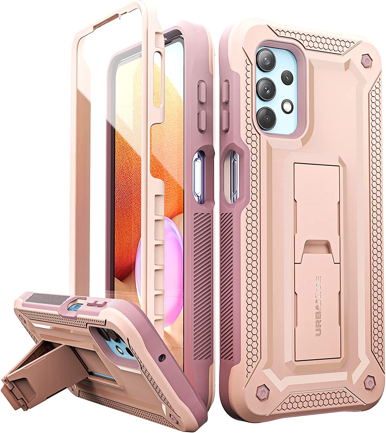 URBANITE for Samsung Galaxy A32 5G Case, Military-Grade Shockproof Double Protection Cover Case Built in Screen Protector and Stand fits Samsung A32 5G Phone 2021 (Pink)