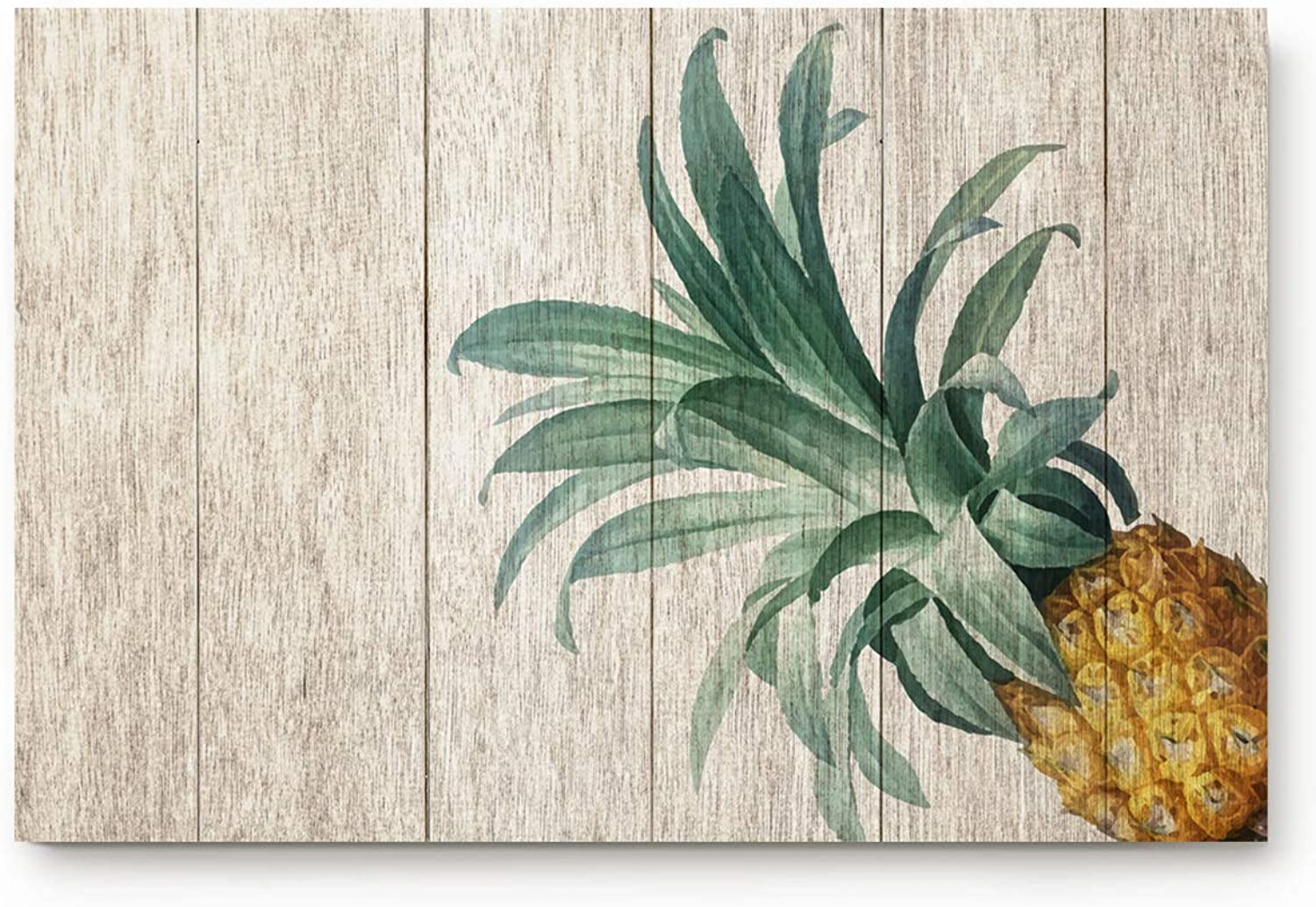 Laibao Indoor Doormat Stylish Welcome Mat Pineapple on Wood Board Entry Non-Slip Rug for Bathroom Bedroom Kitchen Office Dormitory 20x31.5inch