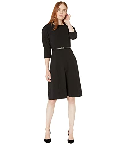 Calvin Klein Belted A-Line Dress with CK Logo Dress (Black) Women