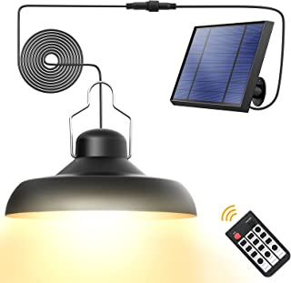 Solar Pendant Lights, Whousewe Solar Lights Outdoor IP65 Waterproof Solar Powered Shed Light Bright and Soft with Remote C...