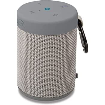 iLive Waterproof Fabric Wireless Speaker, 8.8 x 8.8 x 8.8 Inches,  Built-in Rechargeable Battery, Light Gray (ISBW8LG)