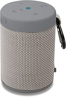 iLive Waterproof Fabric Wireless Speaker, 2.56 x 2.56 x 3.4 Inches, Built-in Rechargeable Battery, Light Gray (ISBW108LG)