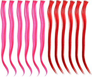 SWACC 12 Pcs Multi-Colors Party Highlights Clip on in Hair Extensions Colored Hair Streak Synthetic Hairpieces (22-Inch Straight, 6 Pcs Hot Pink + 6 Pcs Red)