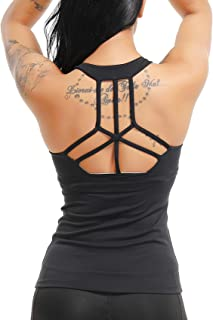 SEASUM Women's Yoga Tank Tops & Sleeveless Shirts Sport Workout Gym Casual Camisole Build-in Bra Open Hollow Backside