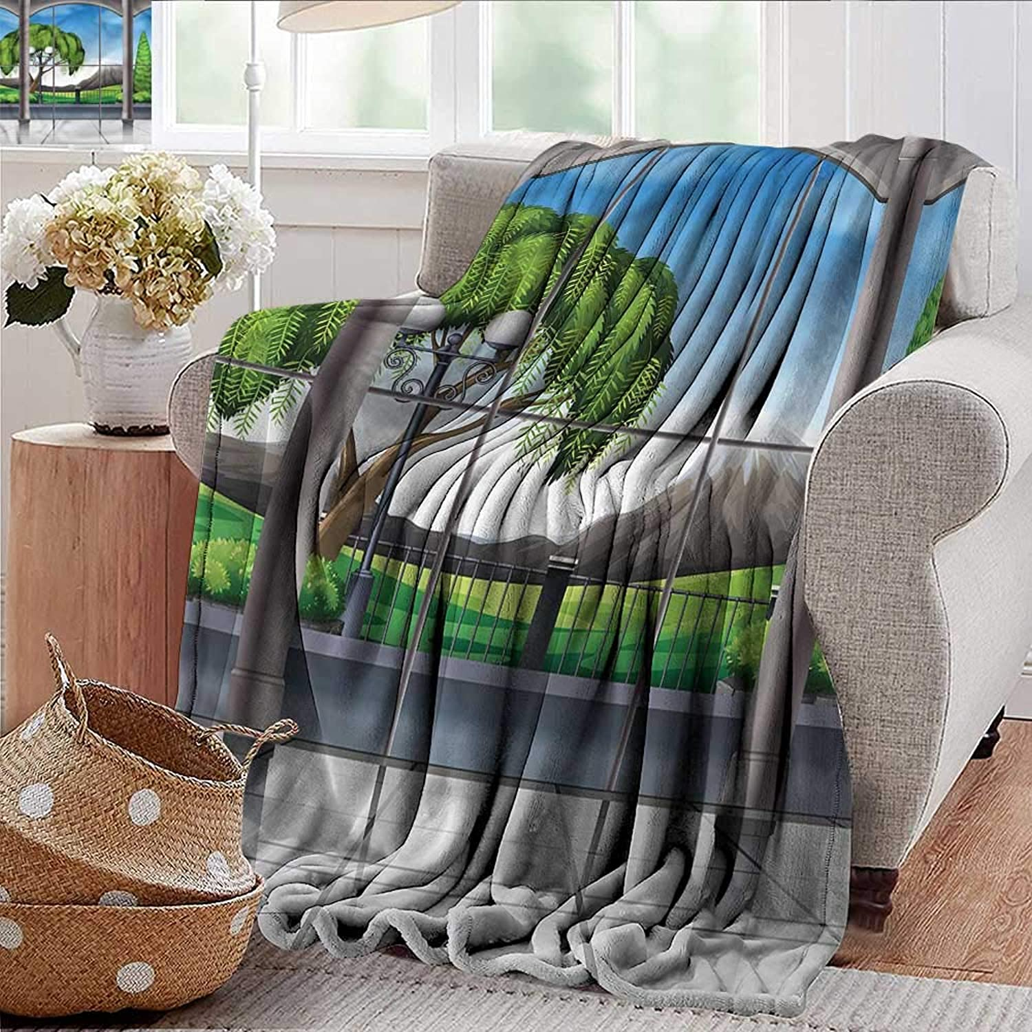 Xaviera Doherty Summer Blanket Landscape,Window View Mountains Weighted Blanket for Adults Kids, Better Deeper Sleep 35 x60