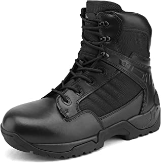 NORTIV 8 Men's Military Tactical Work Boots Side Zipper Leather Motorcycle Combat Bootie