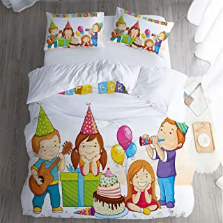 Eeslijah Mos Hotel Luxury Bed Sheet Set Sale,Full 3 Piece Set,Birthday for Kids ful Kinderg en e Hats Cake Boxes Music Bed Sheet Set.