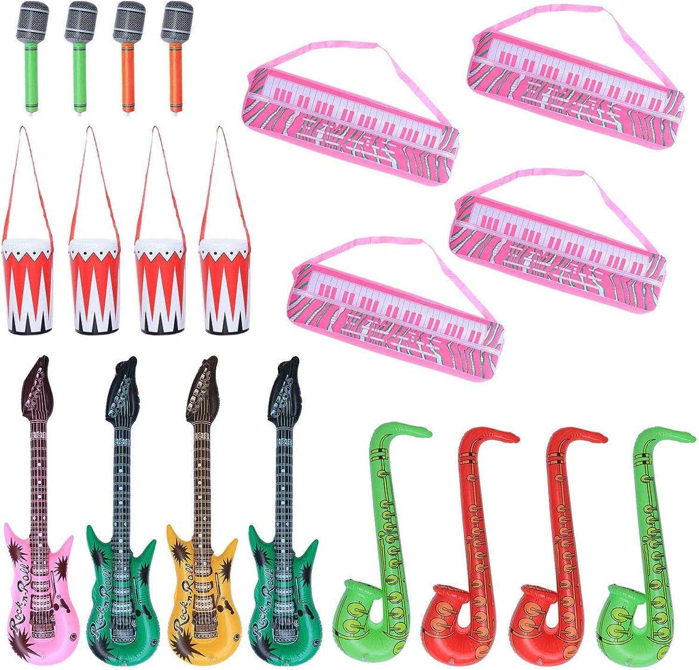 nueva gama alta exclusiva Juguetevian 20 20 20 Piezas Instrumentos Inflables de Piano Electrónico Saxofón Micrófono Guitarra para Niños  Obtén lo ultimo