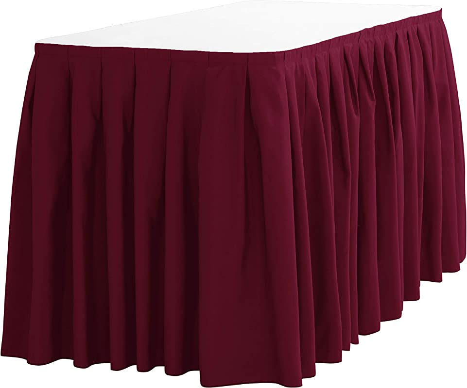 LinenTablecloth 21 Ft Accordion Pleat Polyester Table Skirt Burgundy