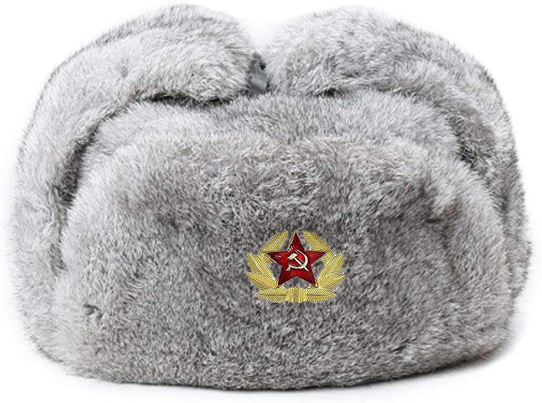 Valpeak Fur Hat Fixed price for service sale Men Real Trooper Ushanka Russian Rabbit