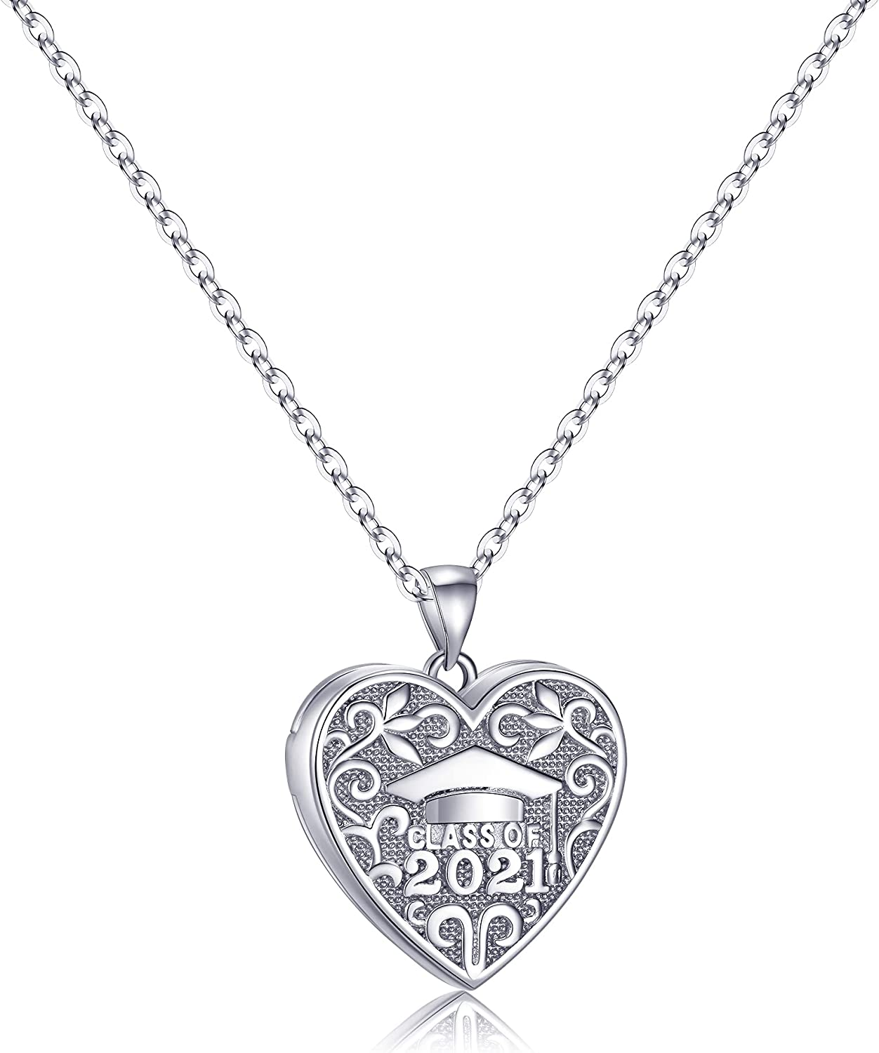 IEFWELL Locket Necklaces That Holds Pictures, Class of 2021 Gifts Heart Picture Necklaces for Women Girls Graduation Gifts for Her 2021