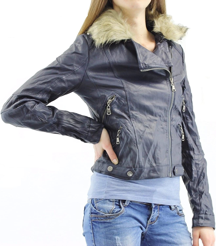 FLIRTY WARDROBE Womens Ladies Faux Leather PU Jacket Fur Collar Cropped Zip Biker Longline Coat