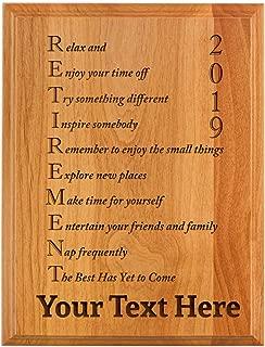 Personalized Retirement Plaque 2019 Custom Name Acrostic Poem Retirement Gifts Women Men Retirement Party 7x9 Oak Wood Custom Engraved Plaque Wood