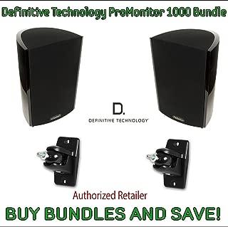 Definitive Technology ProMonitor Compact Satellite Bookshelf Speaker - Pair (ProMonitor 1000 + Pro-Mount 90 (Pair), Black)