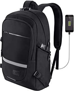 School Laptop Backpack RFID 15.6 Inch, SAMIT Anti Theft Travel Business Backpack Bag with Reflective Strip Computer Rucksack with USB Charging Port, Headphone and Lock College Bookbag Daypack Black