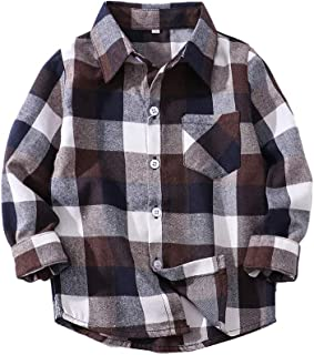 Boys' Button Down Shirts Plaid Flannel Tops Long Sleeve Cotton Warm T-Shirt for Kids Little Big Boys
