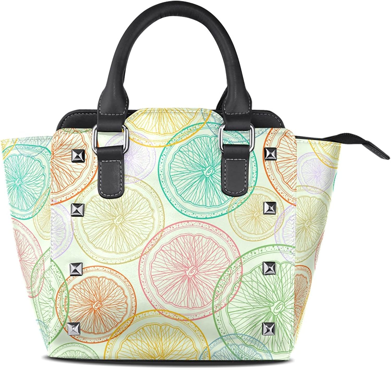 My Little Nest Women's Top Handle Satchel Handbag colorful Lemon Ladies PU Leather Shoulder Bag Crossbody Bag