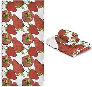 CaTaKu Lot de 3 serviettes de bain en forme de fraise 1 serviette de bain 1 gant de toilette 1 serviette de toilette 1 ser...