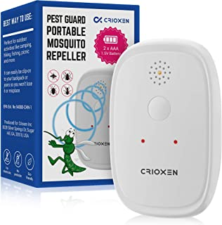 Crioxen Ultrasonic Mosquito Repellent - Odorless Non-Toxic Portable Pest Control Repeller Anti Insects, Bugs, Roaches w/Dragonfly Mode - for Indoor and Outdoor