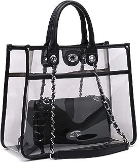 Large Clear Tote Bag PVC Top Handle Shoulder Bag 2 Pieces Set With Turn Lock Closure
