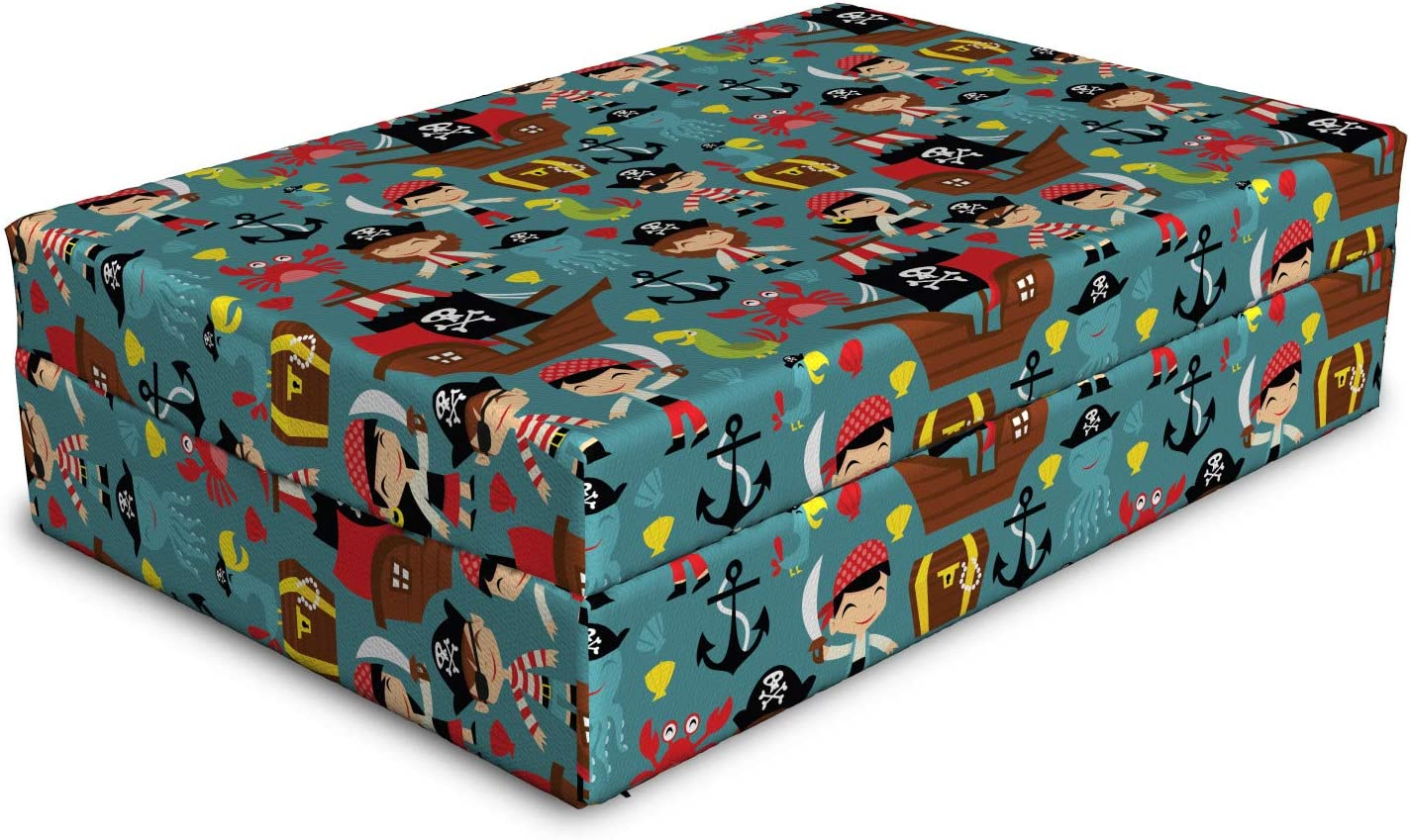 Ambesonne Pirates Dog Long-awaited Bed Illustration Pirate Fort Worth Mall Retro Adventur of