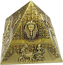 Rubbish Bin Ashtray Set Metal ashtray retro creative pyramid with lid sealed ashtray fashion home decoration gifts waterproof fireproof rust and delicate relief 13 * 13 * 12cm (bronze) منفضة سجائر