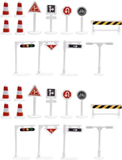 BCP 26 Pieces 13 Style Street Signs Playset Traffic Signs Playset for Children Play
