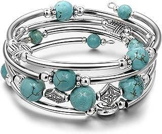 JIAYIQI Bracelet Femme Bracelet Boheme with Jonc à Strass Multicouche avec  Pierre Naturelle
