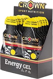 Crown Sport Nutrition 12x Energy Gel (40g) with liquid texture, carbohydrates, aminoacids and electrolytes, Lemon Flavour