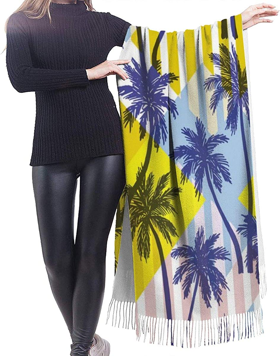 Palm Trees Cashmere Shawl Wrap Scarf Large Warm Scarf For Women