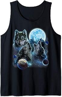 Trois loup hurlants et lune Débardeur