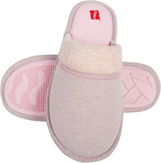 Hanes Women's Superior Comfort Cotton Slip on Scuff Slipper with Memory Foam and Anti-Skid Sole