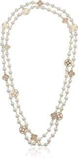 Bridal and Chic Long Imitation Pearl Clover Strand Necklace