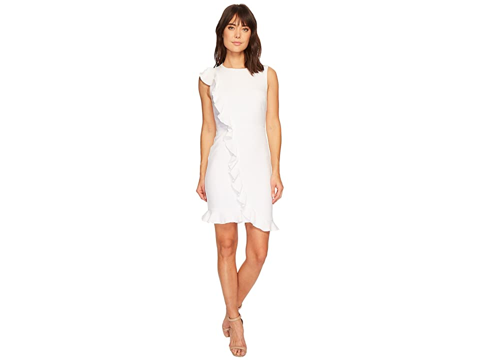 Nicole Miller Ruffle Front Dress (White) Women