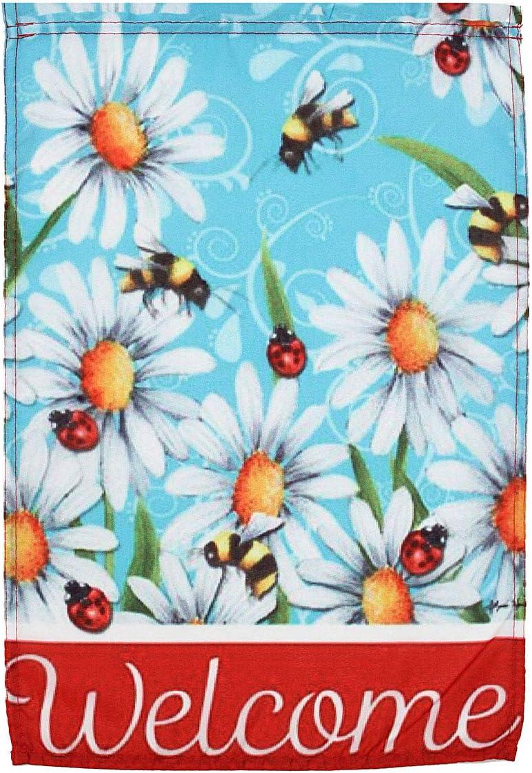 KINGDUO 12x18 ' ' Jardín De Bienvenida Bandera Mariquita & Bee En Daisy Flores Casa Banner Decoraciones